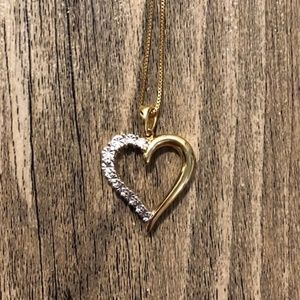 NEW 18k Gold Plated Diamond Accent Heart Necklace